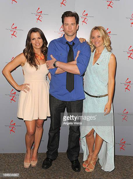 Actors Melissa Claire Egan Michael Muhney and Sharon Case attend the 40 years of The Young and The Restless celebration presented by SAGAFTRA at...