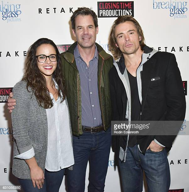 Actors Melissa Fumero Tuc Watkins and JohnPaul Lavoisier attend the premiere of Breaking Glass Pictures' Retake at Laemmle Royal Theater on January 5...