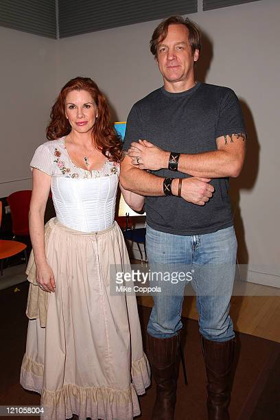 Actors Melissa Gilbert and Steve Blanchard attend a rehearsal for the National Tour of 'Little House on the Prairie The Musical' at The New 42nd...