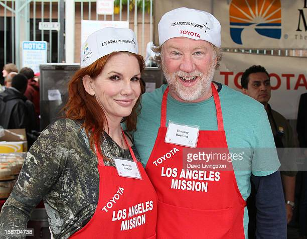 Actors Melissa Gilbert and Timothy Busfield attend the Los Angeles Mission's Christmas Eve for the homeless at the Los Angeles Mission on December 24...
