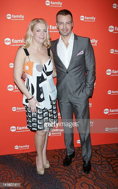 Actors Melissa Joan Hart and Joey Lawrence attend the 2012 ABC Family Upfront at the Mandarin Oriental Hotel on March 19 2012 in New York City