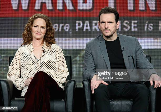 Actors Melissa Leo and Matt Dillon speak onstage during the 'Wayward Pines' panel discussion at the FOX portion of the 2015 Winter TCA Tour at the...