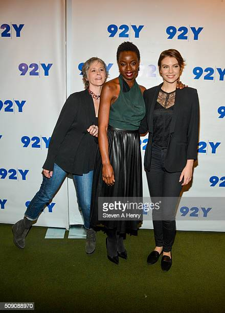 Actors Melissa McBride Danai Gurira and Lauren Cohan attends 'The Walking Dead' screening and conversation at 92nd Street Y on February 8 2016 in New...