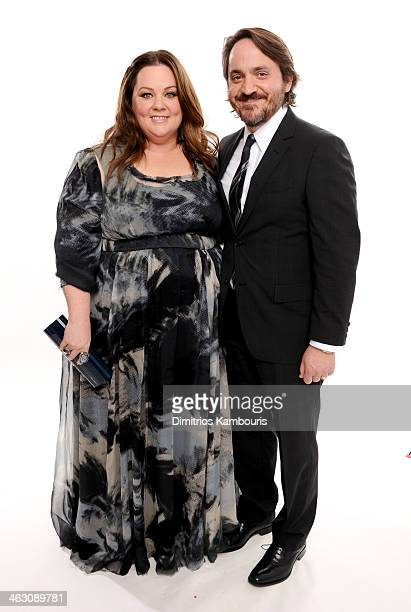 Actors Melissa McCarthy and Ben Falcone pose for a portrait during the 19th Annual Critics' Choice Movie Awards at Barker Hangar on January 16, 2014...