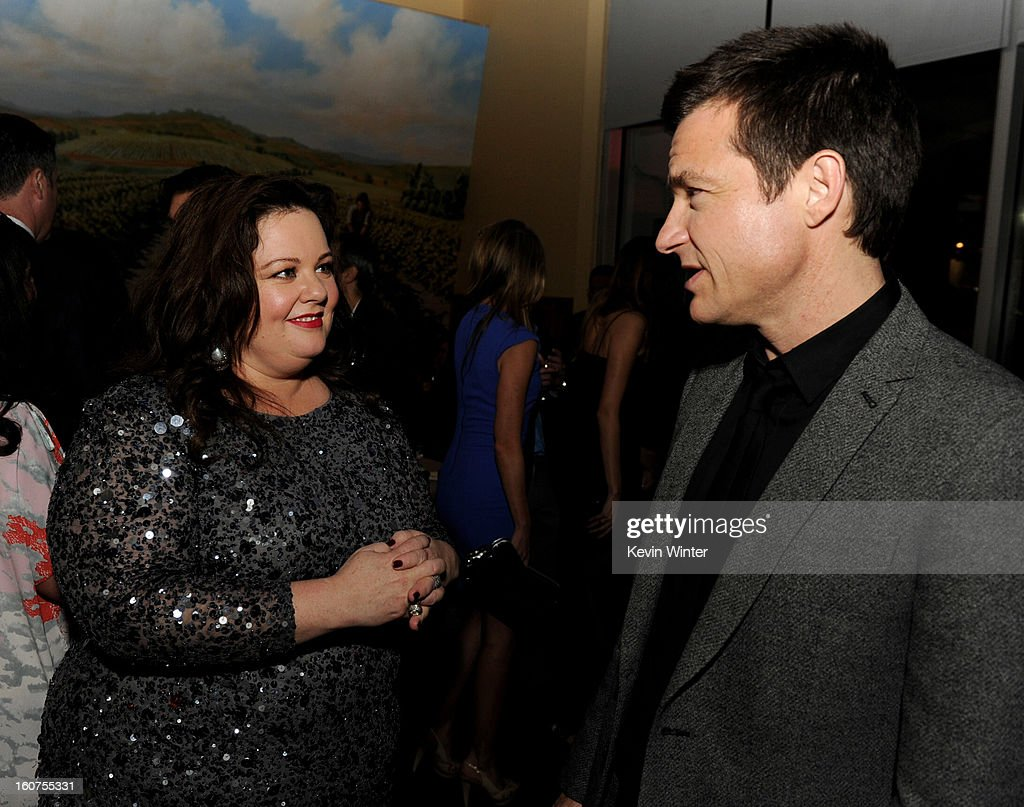 Actors Melissa McCarthy (L) and Jason Bateman pose at the after party for the premiere of Universal Pictures' 'Identity Thief' at Napa Valley Grille on February 4, 2013 in Los Angeles, California.