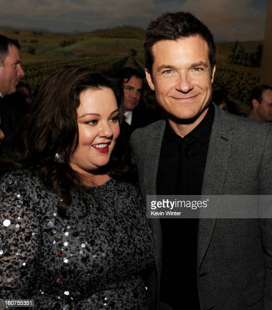 """Actors Melissa McCarthy and Jason Bateman pose at the after party for the premiere of Universal Pictures' """"Identity Thief"""" at Napa Valley Grille on..."""