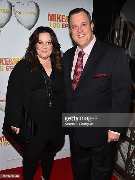 Actors Melissa McCarthy ans Billy Gardell attend CBS's 'Mike Molly' 100th Episode celebration at Cicada on January 31 2015 in Los Angeles California