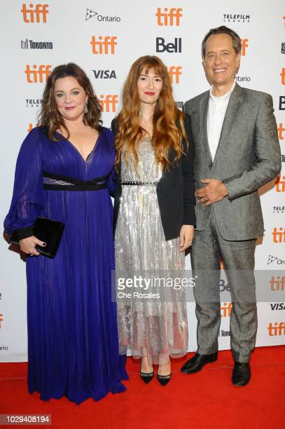 """Actors Melissa McCarthy, Marielle Heller and Richard E. Grant attend the Premiere of """"Can You Ever Forgive Me?"""" at Winter Garden Theatre on September..."""