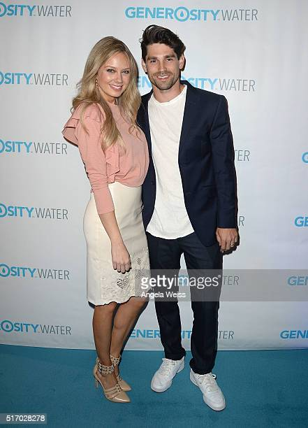 Actors Melissa Ordway and Justin Gaston arrive at the Generosity Water Launch at Montage Beverly Hills on March 22 2016 in Beverly Hills California