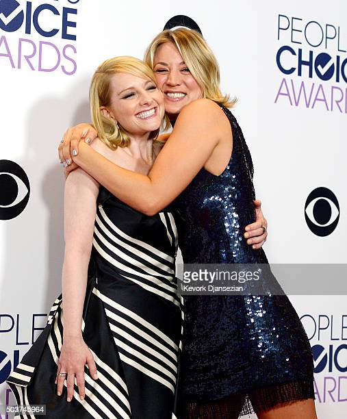 Actors Melissa Rauch and Kaley Cuoco winners of Favorite Network TV Comedy and Favorite TV Show for 'The Big Bang Theory', pose in the press room...