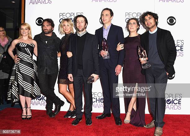 Actors Melissa Rauch, Johnny Galecki, Kaley Cuoco, Simon Helberg, Jim Parsons, Mayim Bialik and Kunal Nayyar, winners of Favorite Network TV Comedy...