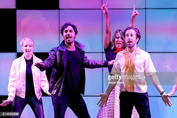 Actors Melissa Rauch Kunal Nayyar Kaley Cuoco and Simon Helberg perform onstage during the 24th and final 'A Night at Sardi's' to benefit the...