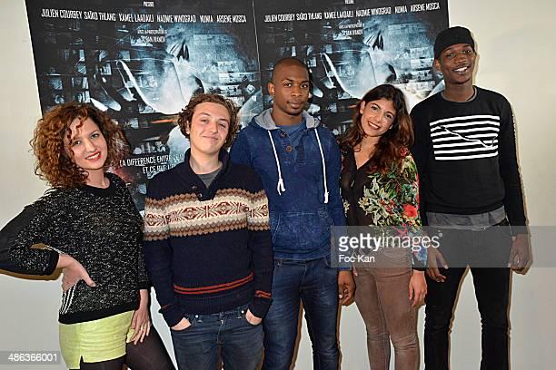Actors Melissa Silveira Sanchez Andrea Dubourgeat Moussa Sylla Donia Eden and Vie Koita attend 'L'Etat Sauvage' Paris Premiere at Cinema Arlequin on...