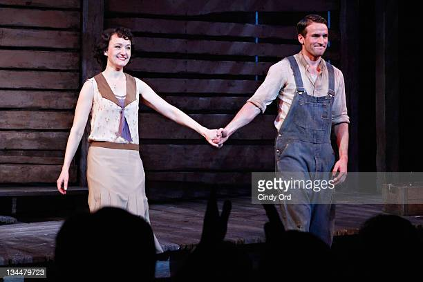 Actors Melissa Van Der Schyff and Claybourne Elder participate in the curtain call at the Broadway opening night of Bonnie Clyde at the Gerald...