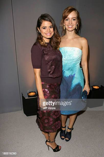 Actors Melonie Diaz and Ahna O'Reilly attend ELLE's 20th Annual Women In Hollywood Celebration at Four Seasons Hotel Los Angeles at Beverly Hills on...