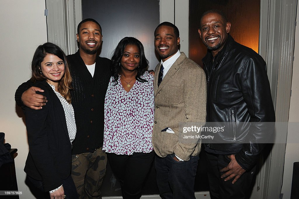 Actors Melonie Diaz, Michael B. Jordan and Octavia Spencer, director Ryan Coogler and producer Forest Whitaker attend the Grey Goose Blue Door 'Fruitvale' Dinner on January 19, 2013 in Park City, Utah.