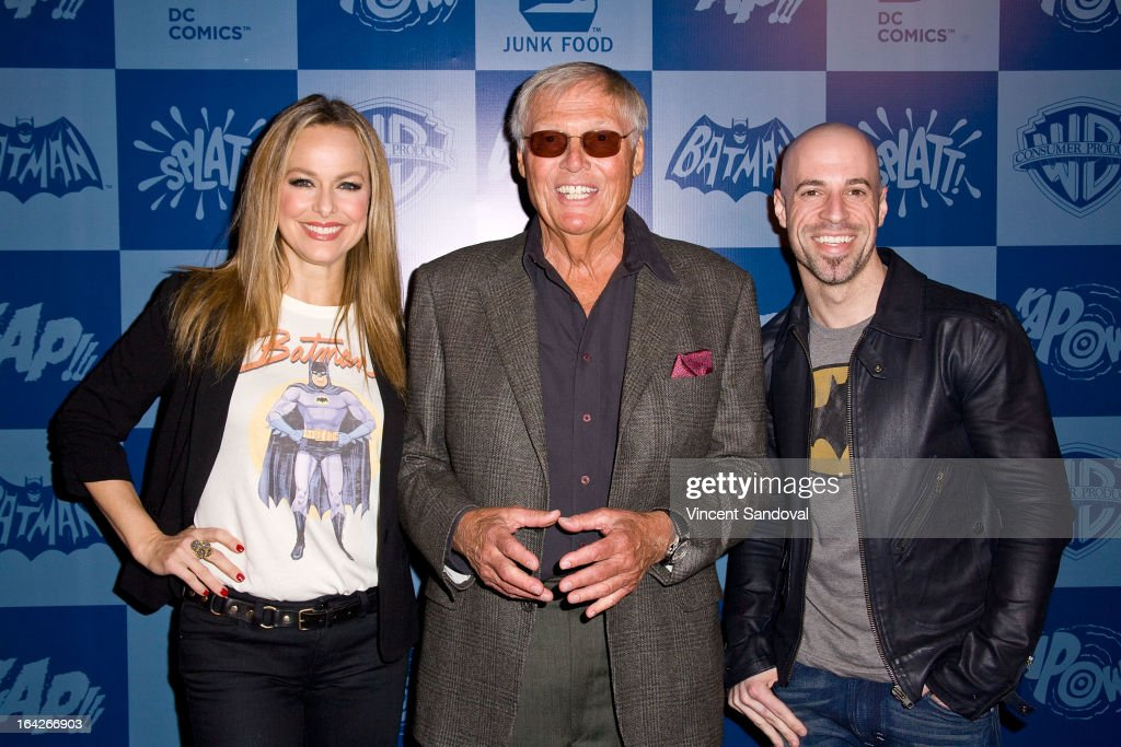 Actors Melora Hardin, Adam West and singer Chris Daughtry attend the launch of the Batman classic TV series licensing program at Meltdown Comics and Collectibles on March 21, 2013 in Los Angeles, California.