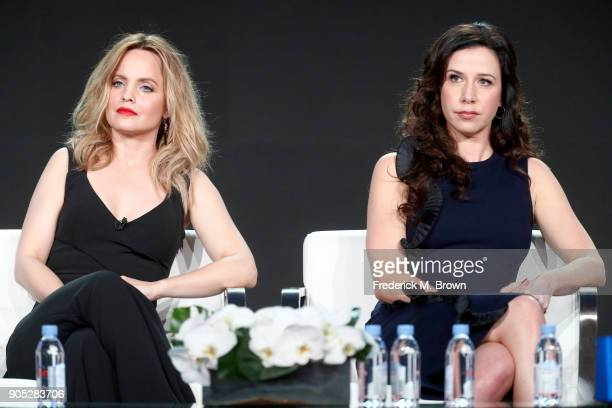 Actors Mena Suvari and Jennifer Bartels of 'American Woman' speak onstage during the Paramount Network portion of the 2018 Winter Television Critics...
