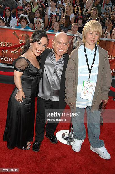 Actors Meredith Eaton and Martin Klebba arrive with his son at the world premiere of Pirates of the Caribbean At World's End held at Disneyland in...