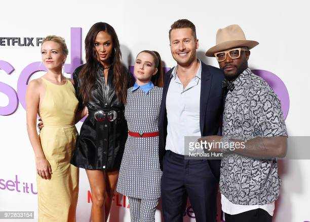 Actors Meredith Hagner Joan Smalls Glen Powell Zoey Deutch and Taye Diggs attend the Set It Up New York Screening at AMC Lincoln Square Theater on...