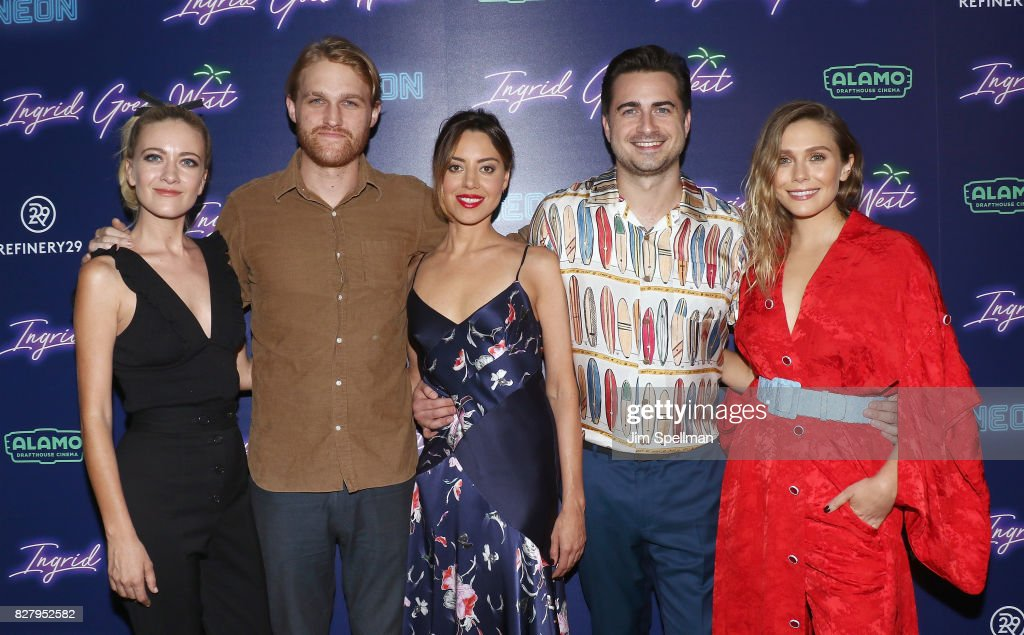 Actors Meredith Hagner, Wyatt Russell, Aubrey Plaza, writer/director Matt Spicer and actress Elizabeth Olsen attend The New York premiere of 'Ingrid Goes West' hosted by Neon at Alamo Drafthouse Cinema on August 8, 2017 in the Brooklyn borough of New York City.
