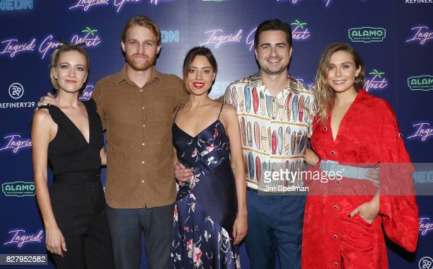 Actors Meredith Hagner Wyatt Russell Aubrey Plaza writer/director Matt Spicer and actress Elizabeth Olsen attend The New York premiere of Ingrid Goes...