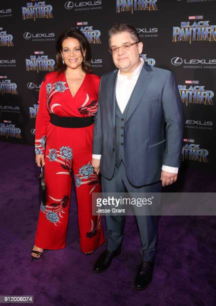 Actors Meredith Salenger and Patton Oswalt at the Los Angeles World Premiere of Marvel Studios' BLACK PANTHER at Dolby Theatre on January 29 2018 in...