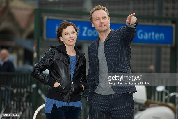 Actors Meret Becker and Mark Waschke attend the presentation of the new Tatort team at Zoologischer Garten on November 4 2014 in Berlin Germany