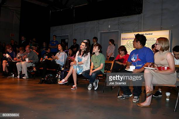 Actors Merit Leighton and Benjamin Stockham attend the YOKAI WATCH 2 preview event at Siren Studios on September 8 2016 in Hollywood California