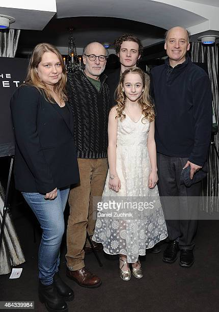 Actors Merritt Wever Peter Friedman Ben Rosenfield Frank Wood and Sophia Anne Caruso attend 'The Nether' Opening Night after party at 49 Grove on...