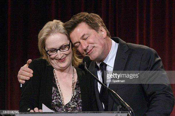 Actors Meryl Streep and Alec Baldwin attend the 2011 Christopher & Dana Reeve Foundation's A Magical Evening benefit at Cipriani, Wall Street on...