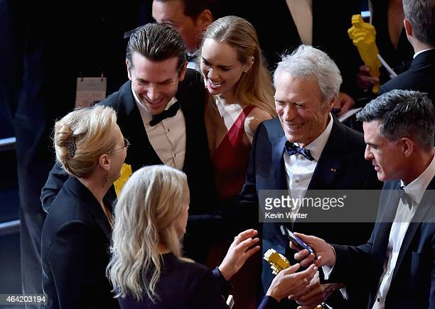 Actors Meryl Streep and Bradley Cooper and actor/director Clint Eastwood with guests onstage during the 87th Annual Academy Awards at Dolby Theatre...