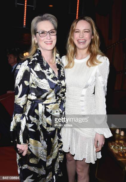 Actors Meryl Streep and Brie Larson attend the tenth annual Women in Film PreOscar Cocktail Party presented by Max Mara and BMW at Nightingale Plaza...
