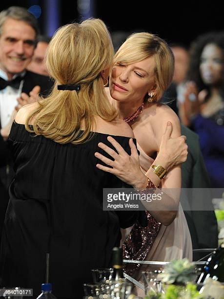 Actors Meryl Streep and Cate Blanchett attend the 20th Annual Screen Actors Guild Awards at The Shrine Auditorium on January 18, 2014 in Los Angeles,...