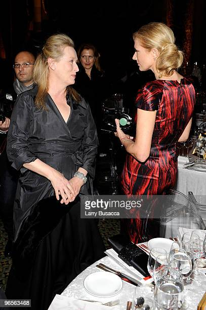 Actors Meryl Streep and Joely Richardson attend the amfAR New York Gala cosponsored by MAC Cosmetics to Kick Off Fall 2010 Fashion Week at Cipriani...