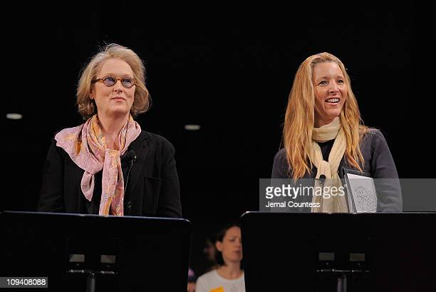 Actors Meryl Streep and Lisa Kudrow attend Vassar College's 150th Anniversary Celebration dress rehearsal at Jazz at Lincoln Center on February 24...