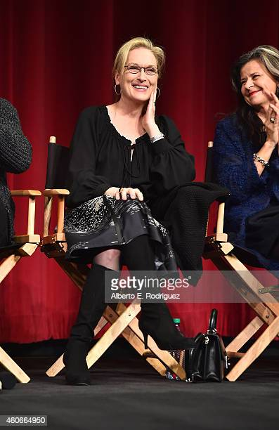 Actors Meryl Streep and Tracey Ullman speak onstage during the Into the Woods All Guild Q A at AMPAS Samuel Goldwyn Theater on December 18 2014 in...