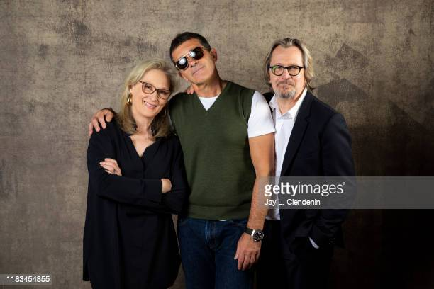 Actors Meryl Streep Antonio Banderas and Gary Oldman from 'The Laundromat' are photographed for Los Angeles Times on September 9 2019 at the Toronto...