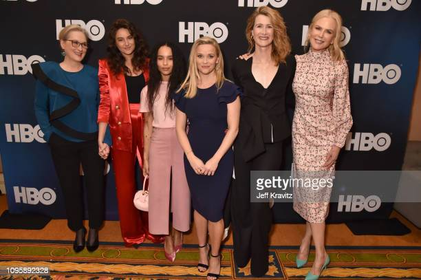 Actors Meryl Streep Shailene Woodley Zoe Kravitz Reese Witherspoon Laura Dern and Nicole Kidman are seen prior to the Big Little Lies panel of the...