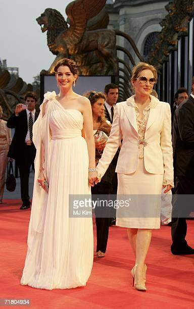 Actors Meryl Streepi and Anne Hathaway attend the premiere of the film 'Devil Wears Prada' during the ninth day of the 63rd Venice Film Festival on...