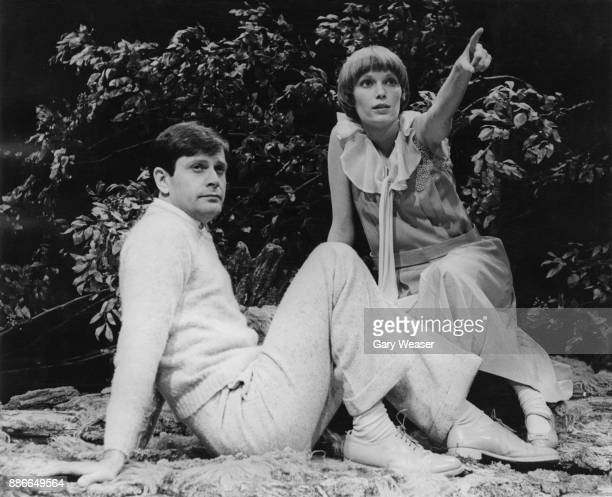 Actors Mia Farrow and Ralph Bates during rehearsals for the play 'Mary Rose' by J M Barrie at the Shaw Theatre on the Euston Road London 12th July...