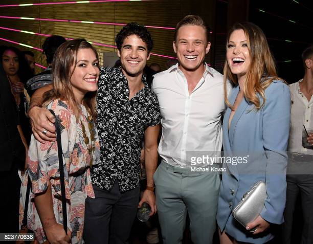Actors Mia Swier Darren Criss Billy Magnussen and Meghann Fahy attend the after party for the Los Angeles Premiere of INGRID GOES WEST presented by...