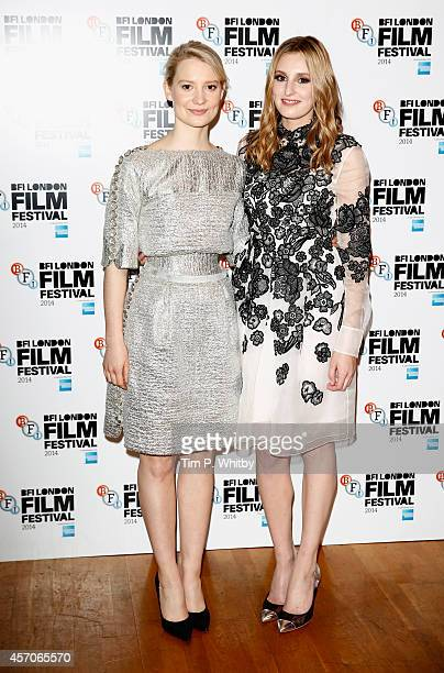 """Actors Mia Wasikowska and Laura Carmichael attend the red carpet arrivals of """"Madame Bovary"""" during the 58th BFI London Film Festival at Odeon West..."""