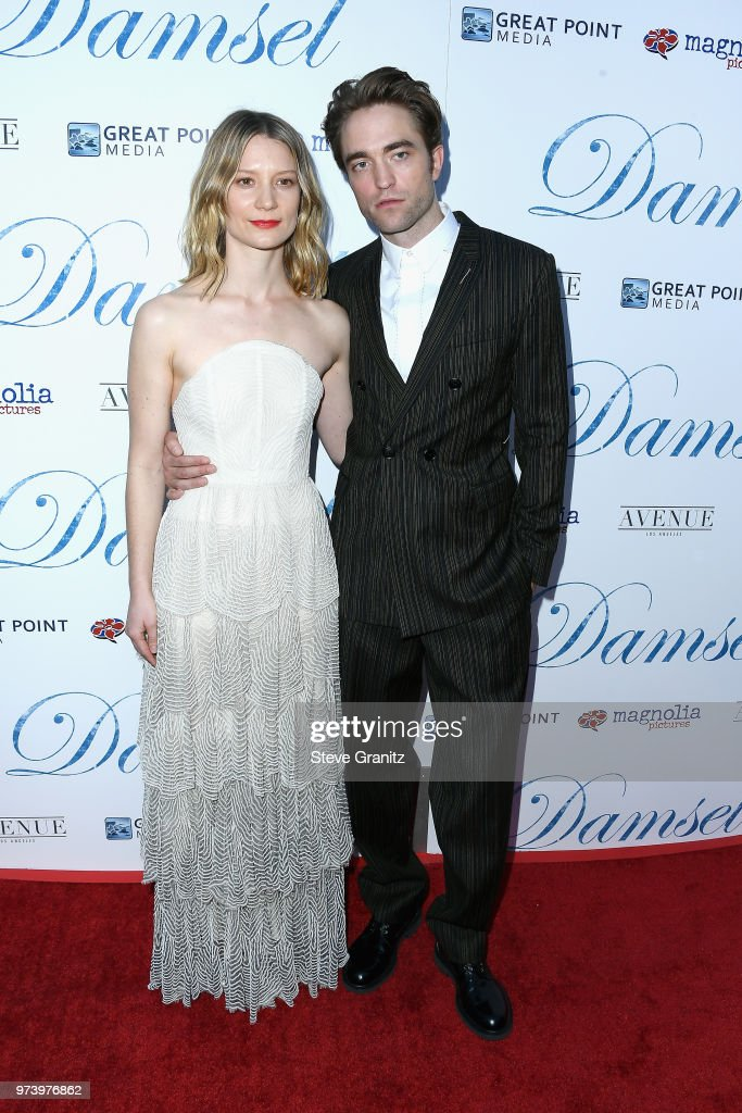 Actors Mia Wasikowska and Robert Pattinson attend Magnolia Pictures' 'Damsel' premiere at ArcLight Hollywood on June 13, 2018 in Hollywood, California.