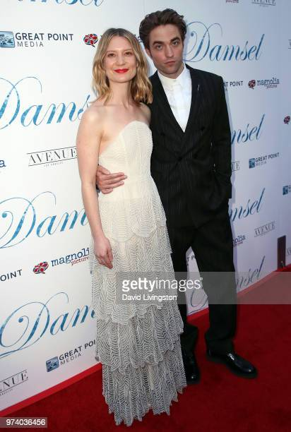 Actors Mia Wasikowska and Robert Pattinson attend Magnolia Pictures' 'Damsel' premiere at ArcLight Hollywood on June 13 2018 in Hollywood California