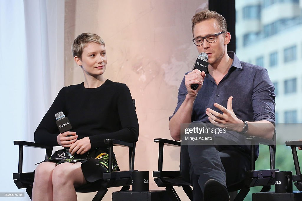 Actors Mia Wasikowska and Tom Hiddleston attend AOL BUILD presents 'Crimson Peak' at AOL Studios on October 16, 2015 in New York City.