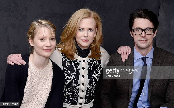 Actors Mia Wasikowska Nicole Kidman and Matthew Goode pose for a portrait during the 2013 Sundance Film Festival at the WireImage Portrait Studio at...