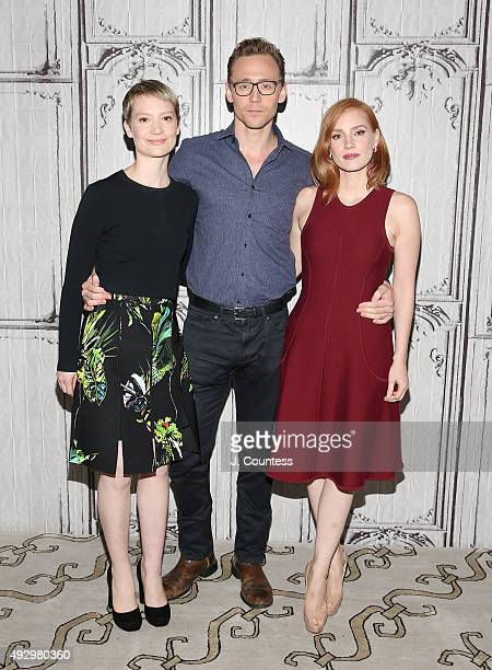 Actors Mia Wasikowska Tom Hiddleston and Jessica Chastain attend the AOL BUILD Presents 'Crimson Peak' at AOL Studios In New York on October 16 2015...