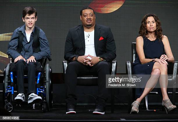 Actors Micah Fowler Cedric Yarbrough and Minnie Driver speak onstage at the 'Speechless' panel discussion during the Disney ABC Television Group...