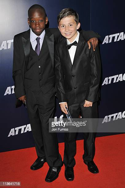 Actors Michael Ajao and Sammy Williams arrive for the 'Attack The Block' UK Premiere at Vue Leicester Square on May 4 2011 in London England